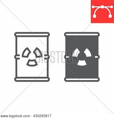 Barrel With Radioactive Waste Line And Glyph Icon, Recycle And Ecology, Chemical Waste Vector Icon,