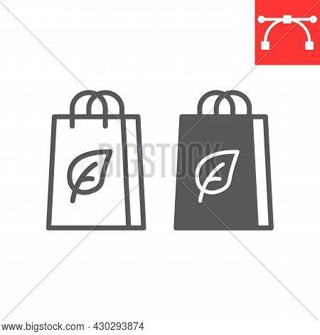 Eco Bag Line And Glyph Icon, Reusable And Ecology, Ecobag Vector Icon, Vector Graphics, Editable Str