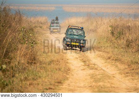 Jim Corbett National Park, Ramnagar, Uttarakhand, India - December 8, 2020 - Gypsy Or Jeep On A Bump