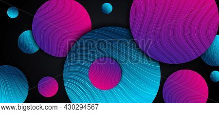 Abstract Blue And Pink Gradient Circles Overlap With Line Curved Layers Design On Back Background. V