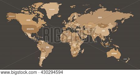 Simplified Schematic Map Of World. Political Map Of Countries With Generalized Borders. Simple Flat