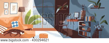 Same Modern Living Room In Day And Night Time. Cozy Home Apartment In Morning And Afternoon. Daytime