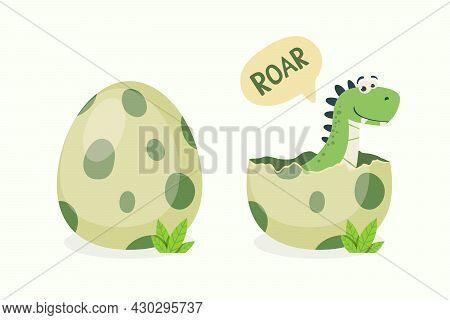Little Dino. Hatched Little Dinosaur Baby, Child, Kid. Tirannosaur Tirex, Dinosaur Egg. Cartoon T-re