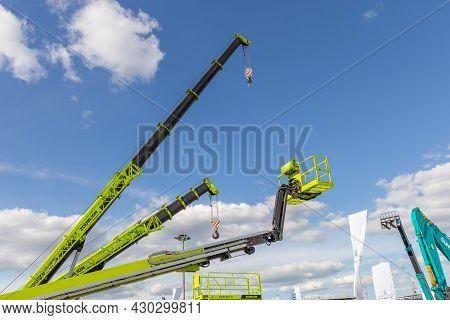 New Zoomlion Construction Equipment At The Bauma Ctt Russia 2021 Construction Industry Fair. Cranes