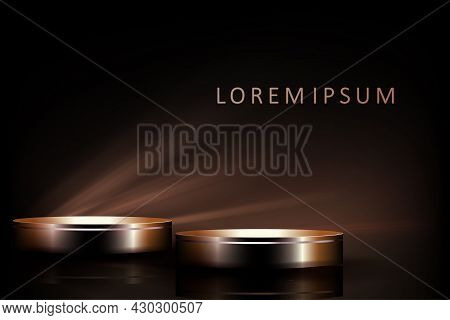 Black Stage With Geometric Round Shapes, Abstract Dim Light Rays