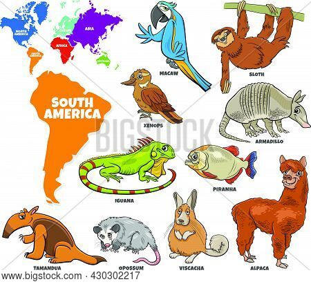 Educational Cartoon Illustration Of South American Animal Species Set And World Map With Continents