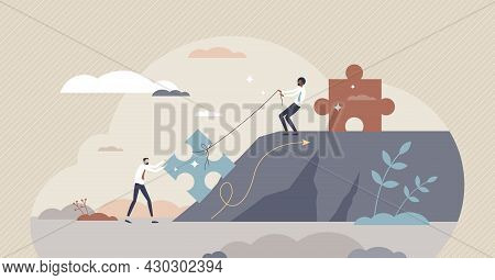 Mentoring Growth And Leader Support With Motivation Tiny Person Concept. Business And Career Strateg