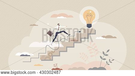 Step Process, Effective Business Progress Or Development Tiny Person Concept. Businessman Growth As