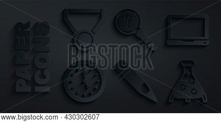 Set Pencil With Eraser, Laptop, Clock, Test Tube And Flask, Unknown Search And Medal Icon. Vector
