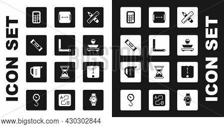 Set Crossed Ruler And Pencil, Corner, Construction Bubble Level, Calculator, Scales, Area Measuremen
