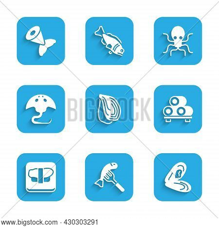 Set Mussel, Served Fish On A Plate, Sushi Cutting Board, Stingray, Octopus And Fish Tail Icon. Vecto