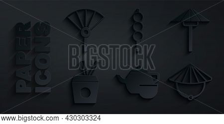 Set Chinese Tea Ceremony, Japanese Umbrella From The Sun, Noodles Box And Chopsticks, Conical Straw