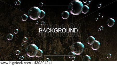 Black Texture Composition, Multicolored Soap Bubbles Of Various Diameters