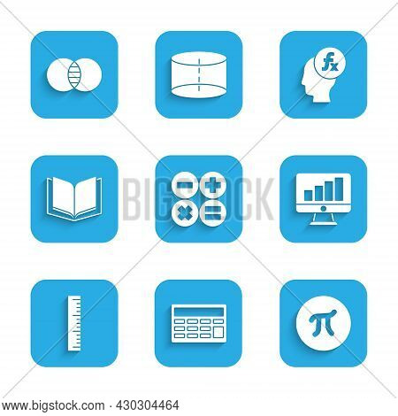 Set Calculator, Pi Symbol, Computer Monitor With Graph Chart, Ruler, Open Book, Function Mathematica