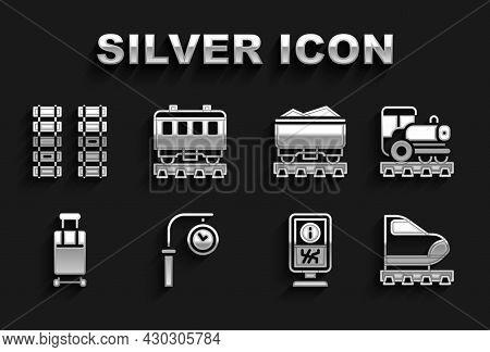 Set Train Station Clock, Vintage Locomotive, High-speed Train, Information Stand, Suitcase, Coal Wag
