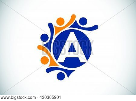 Initial A Monogram Alphabet With Connecting People. Team, Cooperation Logo Sign Symbol. Font Emblem.