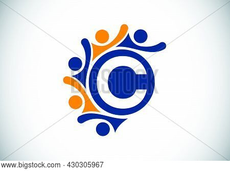 Initial C Monogram Alphabet With Connecting People. Team, Cooperation Logo Sign Symbol. Font Emblem.