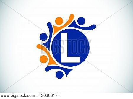Initial L Monogram Alphabet With Connecting People. Team, Cooperation Logo Sign Symbol. Font Emblem.