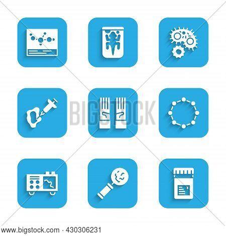 Set Medical Rubber Gloves, Microorganisms Under Magnifier, Jar With Additives, Chemical Formula, Spe