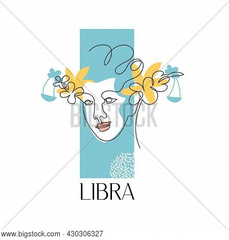 Zodiac Sign Libra. The Symbol Of The Astrological Horoscope. Vector Illustration. Portrait Of A Girl