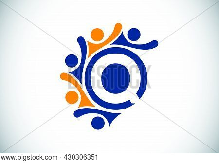 Initial Q Monogram Alphabet With Connecting People. Team, Cooperation Logo Sign Symbol. Font Emblem.