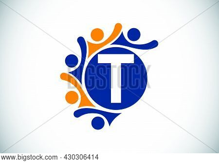 Initial T Monogram Alphabet With Connecting People. Team, Cooperation Logo Sign Symbol. Font Emblem.