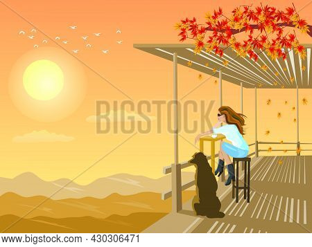 A Woman And A Dog Look At The Sunset In A Bamboo Shed On A Mountain With Sunset In The Background.