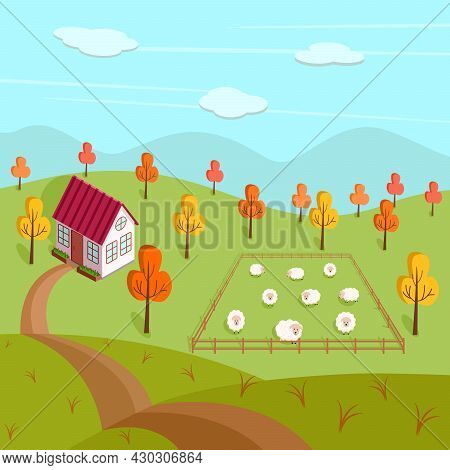 Autumn Landscape Of A Farm, A House And A Pasture With Sheep. Vector Illustration Of A Village