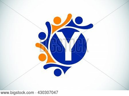 Initial Y Monogram Alphabet With Connecting People. Team, Cooperation Logo Sign Symbol. Font Emblem.