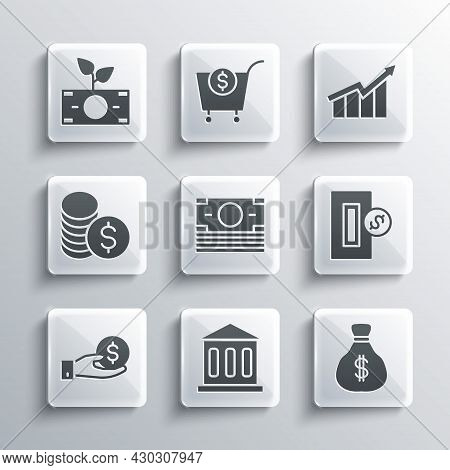 Set Bank Building, Money Bag, Inserting Coin, Stacks Paper Money Cash, Hand Giving, Coin With Dollar