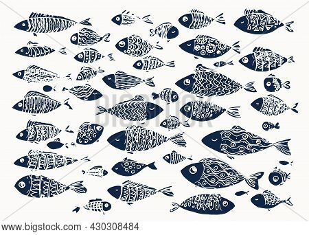 A Set Of Stylized Fish Of Dark Blue Color. Isolated Elements Of Sea Fish Drawn In A Cartoon Style Wi