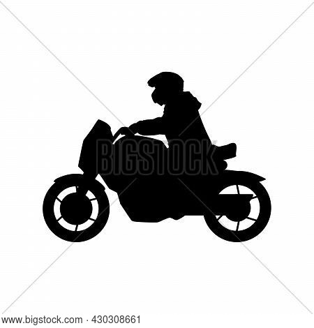 Silhouette Motorcyclist Young Man At Motorbike. Illustration Icon Symbol