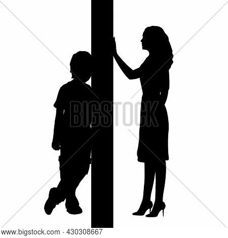 Silhouettes Of Mom And Son Separated By Wall. Illustration Icon Symbol