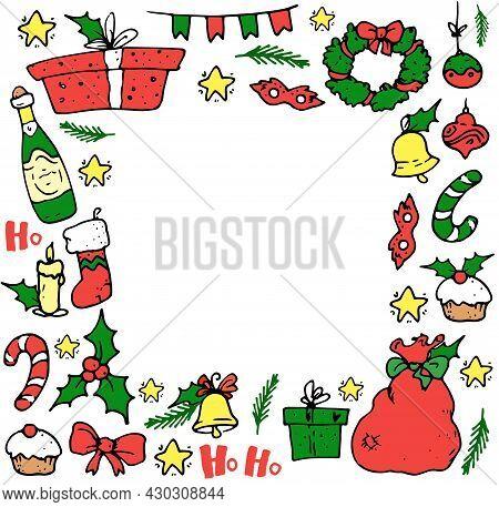 Vector Frame For Christmas. Square Frame Made Of Doodle Winter Elements Santa's Bag, Champagne, Holl