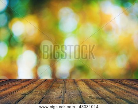 bright background, autumn bokeh and wooden floor
