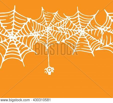 Seamless Spider Web Border With A Spider For Halloween. Vector Horizontal Strip Of Spider Web Textur