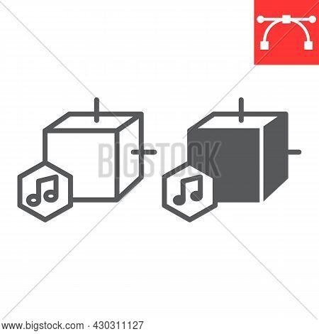 Music Nft Line And Glyph Icon, Unique Token And Nft Blockchain, Non Fungible Token Vector Icon, Vect