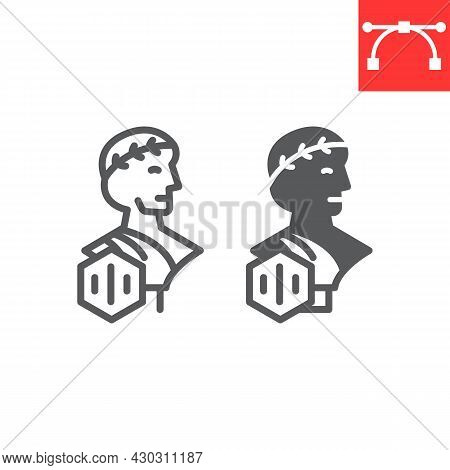 Greek Statue With Nft Line And Glyph Icon, Unique Token And Nft, Non Fungible Token Vector Icon, Vec