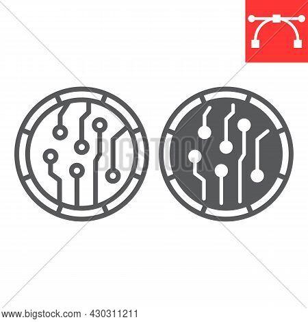 Crypto Coin Line And Glyph Icon, Unique Token And Blockchain, Non Fungible Token Vector Icon, Vector
