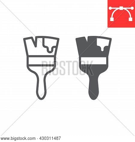 Paint Brush Line And Glyph Icon, Tool And Repair, Paintbrush Vector Icon, Vector Graphics, Editable