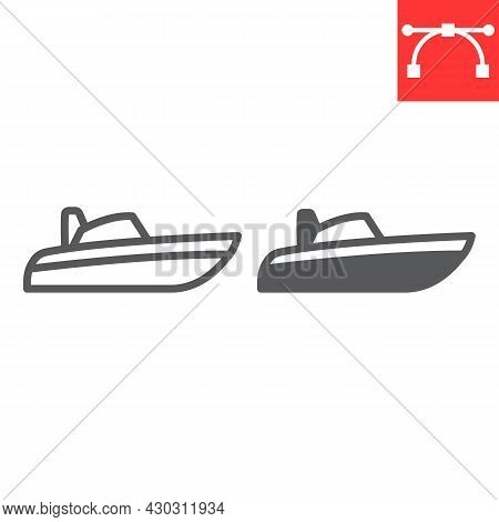 Speedboat Line And Glyph Icon, Motor Boat And Beach, Motorboat Vector Icon, Vector Graphics, Editabl