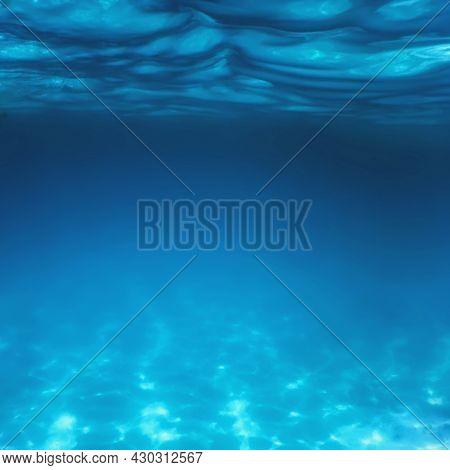 Underwater Blue Ocean, Sandy Sea Bottom Underwater