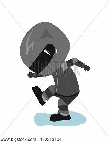 Motorcyclist In A Black Jacket And Helmet. Biker Uniform. Dancing Dance. Cartoon Style. Funny Charac