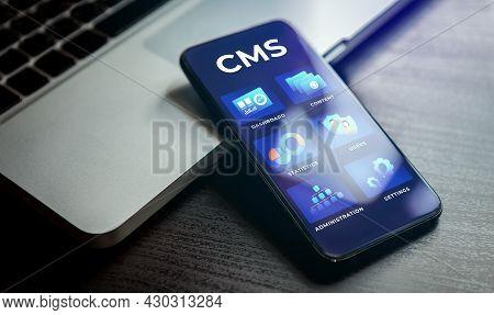 Content Management System - Cms Acronym Concept. Website Management Software For Publishing Content,