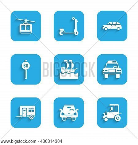Set Sailboat, Car, Tractor, Police Car And Flasher, Rv Camping Trailer, Speed Limit Traffic, Hatchba