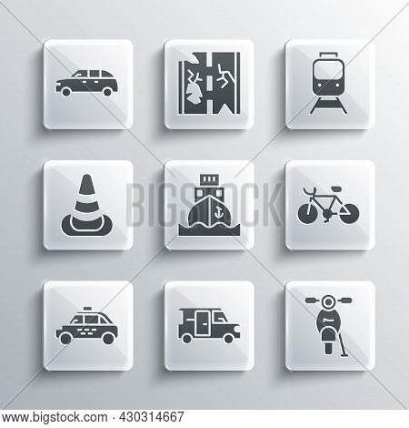 Set Minibus, Scooter, Bicycle, Cargo Ship, Taxi Car, Traffic Cone, Hatchback And Train And Railway I