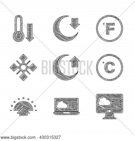 Set Moon, Weather Forecast, Celsius, Sunrise, Snowflake, Fahrenheit And Meteorology Thermometer Icon