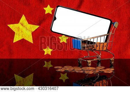 Mockup Image Of A Smartphone With The Blank White Screen In A Food Basket And Chinese Flag On The Ba