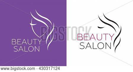 Beautiful Woman Vector Logo Template For Hair Salon, Beauty Salon, Cosmetic Procedures, Spa Center.