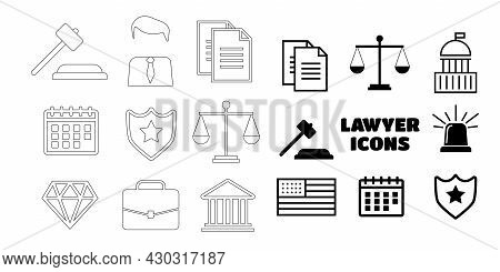 Voting And Elections Linear Icons. Government Political Eps10